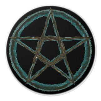 Pomo De Cerámica Botón de cerámica de encargo del Pentagram azul