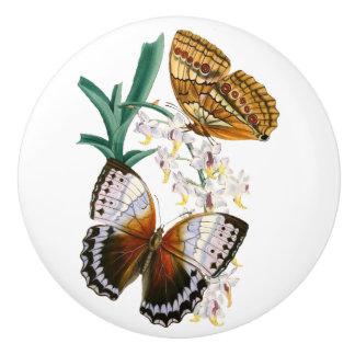 """Pomo De Cerámica """"Botón de cerámica de las mariposas del vintage"""""""