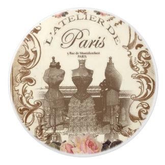 Pomo De Cerámica Botón de cerámica francés del vintage