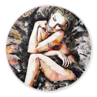Pomo De Cerámica Botón hermoso del arte de la mujer