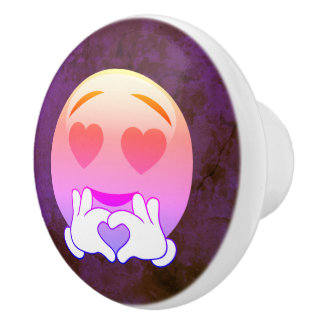 Pomo De Cerámica Botones de cerámica de Emoji del amor del ojo de