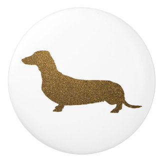 Pomo De Cerámica Brillo del oro del icono del perro del Dachshund