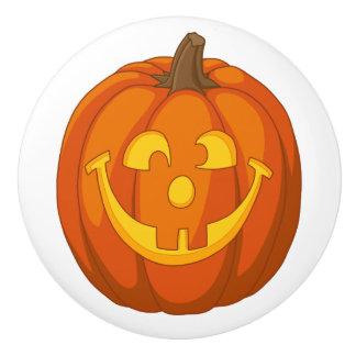 Pomo De Cerámica Cara torpe feliz de la calabaza de Halloween de la
