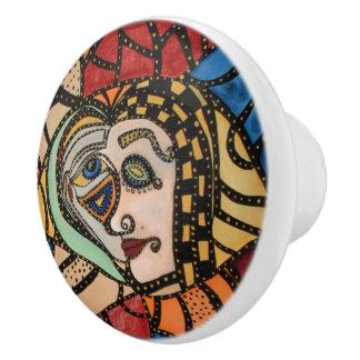 Pomo De Cerámica Caras modernas del arte abstracto