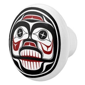 Pomo De Cerámica Cráneo que llora del Haida del noroeste de la