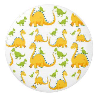 Pomo De Cerámica Dinosaurios amarillos de la diversión y verdes