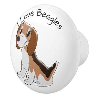 Pomo De Cerámica Diseño del perro del beagle