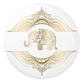 Pomo De Cerámica El oro entona el elefante y el cordón lindos