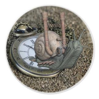 Pomo De Cerámica El reloj del caracol y de bolsillo del cuento de