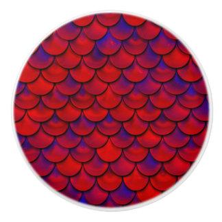 Pomo De Cerámica Falln escalas rojas y de la púrpura