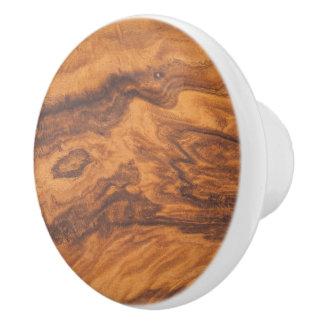 Pomo De Cerámica Falsa impresión de madera de Brown