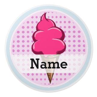 Pomo De Cerámica Helado personalizado rosa lindo para los chicas