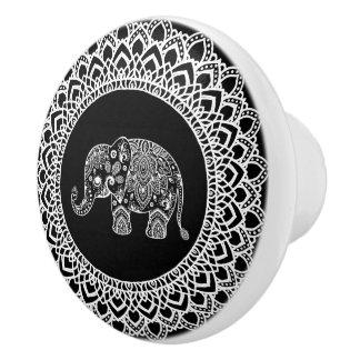 Pomo De Cerámica Mandala blanca del círculo y elefante blanco de