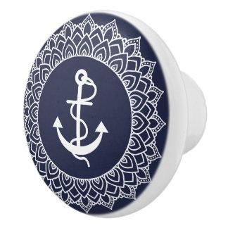 Pomo De Cerámica Mandala del círculo y ancla blancas del barco
