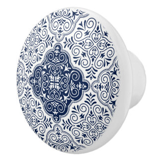 Pomo De Cerámica Modelo floral marroquí azul marino de la mandala