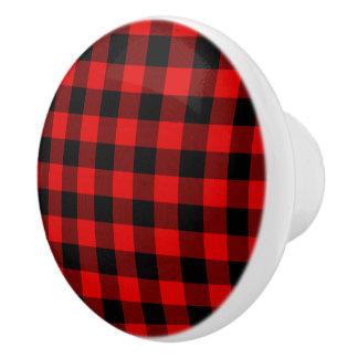 Pomo De Cerámica Modelo rojo tradicional de la tela escocesa del