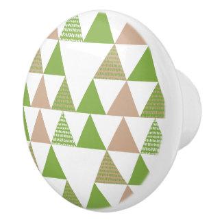 Pomo De Cerámica Mosaico geométrico del árbol de la col rizada del