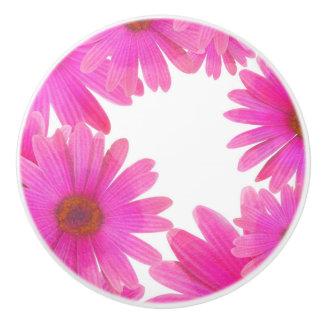 Pomo De Cerámica País elegante de la margarita floral rosada de las