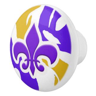 Pomo De Cerámica Púrpura y botón de puerta de la flor de lis del