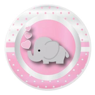 Pomo De Cerámica Rosas bebés, blanco y elefante del modelo de lunar