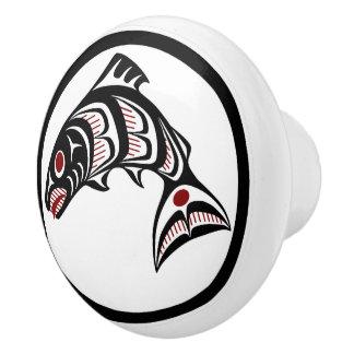 Pomo De Cerámica Salmones del noroeste del arte del Haida de la