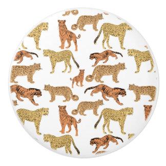 Pomo De Cerámica Tigre, guepardo y leopardo