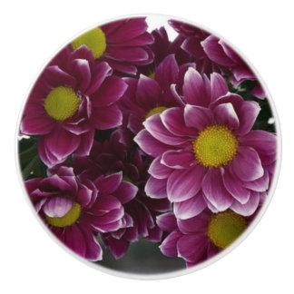 Pomo De Cerámica Tirón de cerámica floral púrpura y amarillo