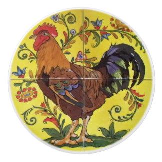 Pomo De Cerámica Tirón rojo del cajón del arte popular del pollo
