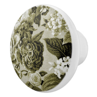 Pomo De Cerámica Vintage Toile floral No.1 del verde verde oliva