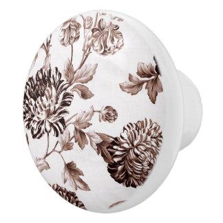 Pomo De Cerámica Vintage Toile floral No.2 de Brown de la sepia