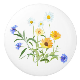 Pomo De Cerámica Wildflowers