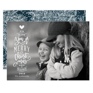 Poner letras a la tarjeta feliz 2018 de la foto de