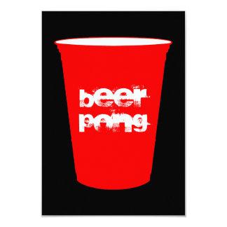 pong de la cerveza: taza roja del fiesta invitación 8,9 x 12,7 cm