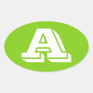 Ponga letras a los pegatinas ovales de color verde
