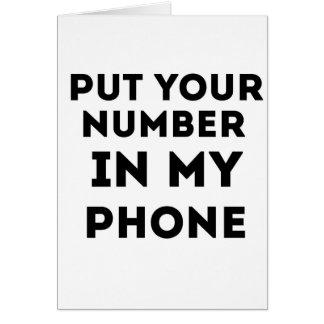Ponga su número en mi teléfono felicitaciones