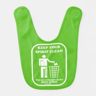 Ponga verde, guarde su babero limpio del bebé del