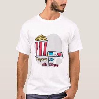 Poporn con la camiseta de los vidrios 3d
