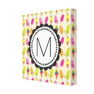 Popsicles y monograma del personalizado de los impresión en lienzo