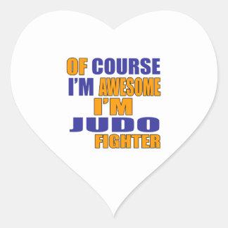 Por supuesto soy combatiente del judo pegatina en forma de corazón