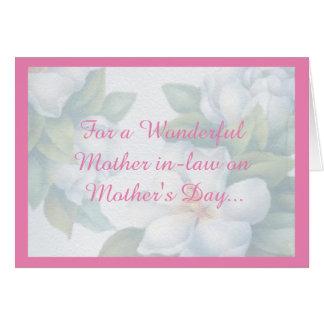 Por un día de madre maravilloso de la suegra tarjeta de felicitación