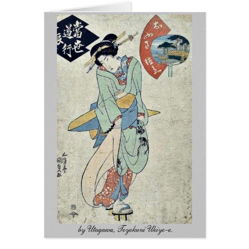por Utagawa, Toyokuni Ukiyo-e. Felicitación