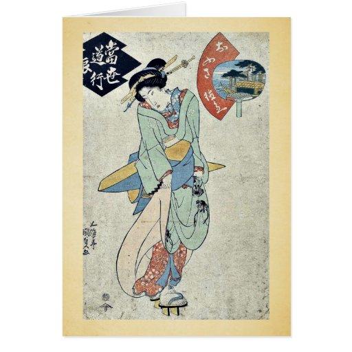 por Utagawa, Toyokuni Ukiyo-e. Felicitacion