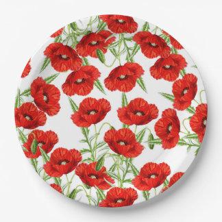 Porciones de amapolas rojas plato de papel