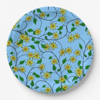 Porciones de girasoles entrelazados plato de papel