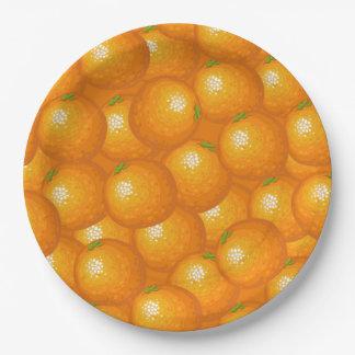 Porciones de naranjas plato de papel