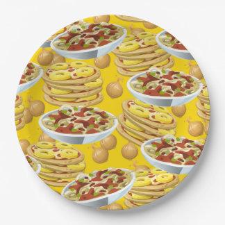 Porciones de pastas y de pizza plato de papel