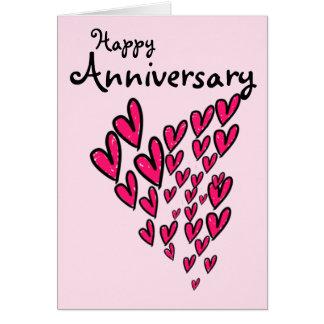 Porciones felices del aniversario de corazones tarjeta de felicitación