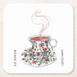 Porque el té ama feliz - con la taza de té del posavasos de cartón cuadrado