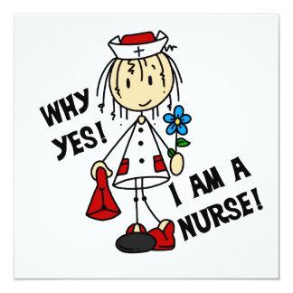 Porqué soy sí enfermera invitación 13,3 cm x 13,3cm
