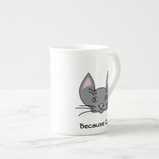 Porque taza de la porcelana de hueso de los gatos